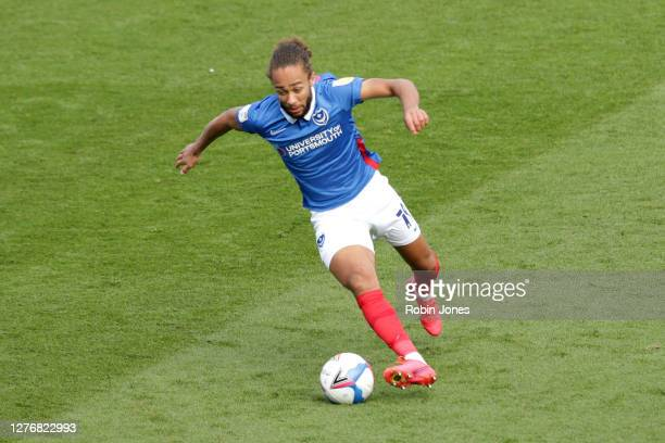 Marcuss Harness of Portsmouth FC during the Sky Bet League One match between Portsmouth and Wigan Athletic at Fratton Park on September 26, 2020 in...