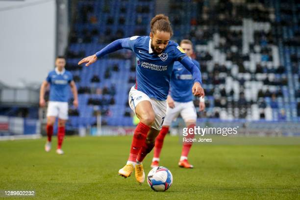 Marcuss Harness of Portsmouth FC during the Sky Bet League One match between Portsmouth and Peterborough United at Fratton Park on December 05, 2020...