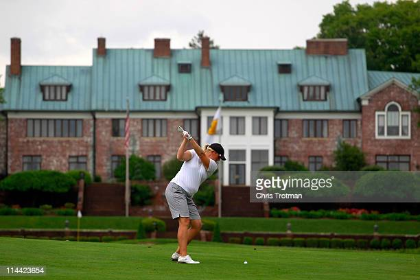 Marcy Hart hits her second shot to the ninth green during round one of the Sybase Match Play Championship at Hamilton Farm Golf Club on May 19 2011...