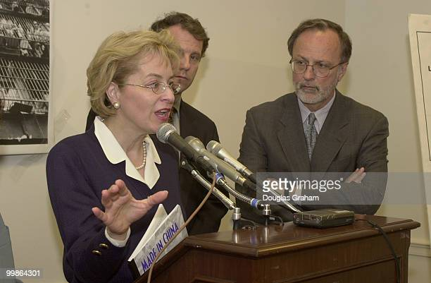 Marcy Kaptur DOh Sherrod Brown DOhand Minority Whip David E Bonior DMi during a press conference on China PNTR