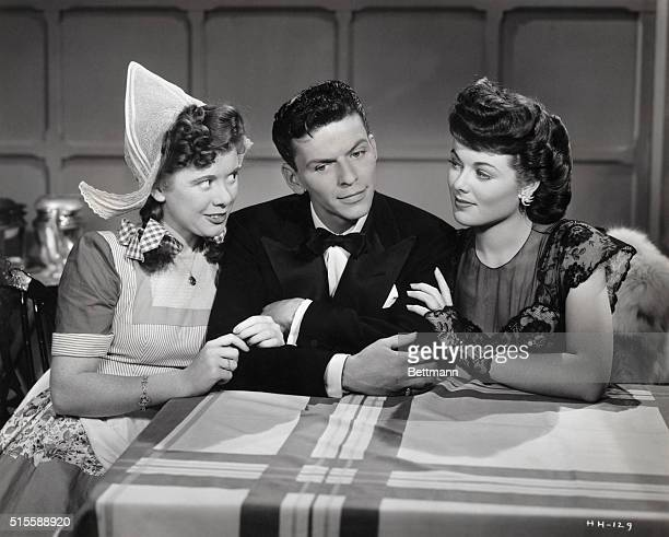 Marcy McGuire Frank Sinatra and Barbara Hale in a still from the movie Higher and Higher Sinatra was just beginning his solo career as a vocalist...
