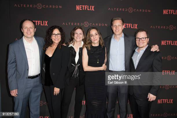 Marcy Ross Dana Goldberg Laeta Kalogridis David Ellison and James Middleton attend the Premiere Of Netflix's 'Altered Carbon' at Mack Sennett Studios...