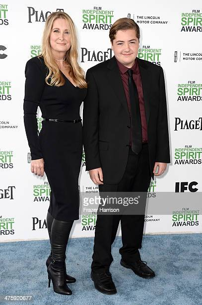 Marcy Wudarski and Michael Gandolfini attend the 2014 Film Independent Spirit Awards at Santa Monica Beach on March 1 2014 in Santa Monica California