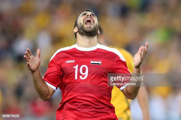 Mardek Mardkian of Syria reacts to a shot at goal during the 2018 FIFA World Cup Asian Playoff match between the Australian Socceroos and Syria at...