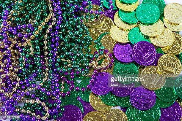 mardi gras background - mardi gras beads stock photos and pictures