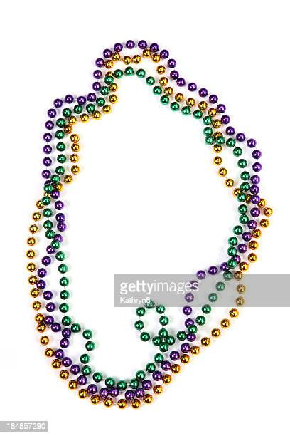 mardi gras beads - mardi gras beads stock photos and pictures