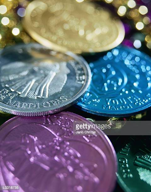 mardi gras coins - gras stock pictures, royalty-free photos & images