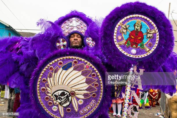 Mardi Gras Indian masks on February 13 2018 in New Orleans Louisiana