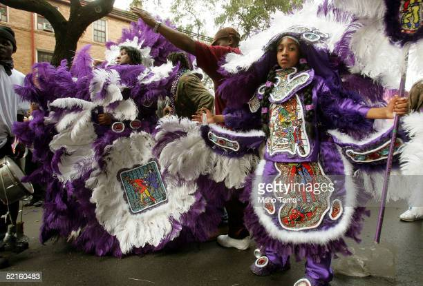 Mardi Gras Indians appear during Mardi Gras festivities February 8 2005 in New Orleans Louisiana The Mardi Gras Indians are comprised mostly of the...