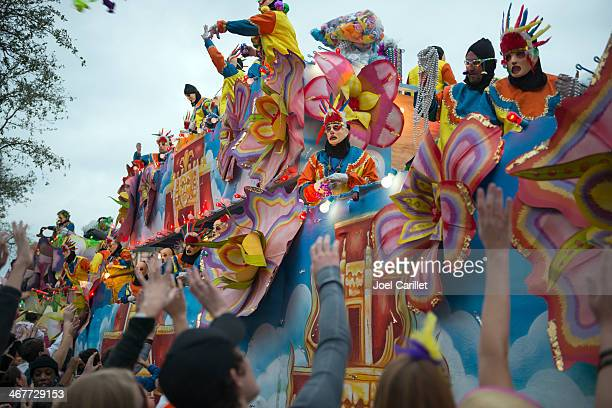 mardi gras parade by krewe of endymion - new orleans mardi gras stock photos and pictures