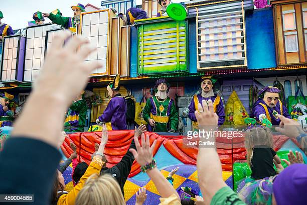 mardi gras parade on canal street - new orleans mardi gras stock photos and pictures