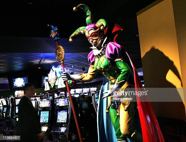 A Mardi Grasthemed figure stands at the Mardi Gras Race Track and Gaming Center in Hallandale Beach Florida