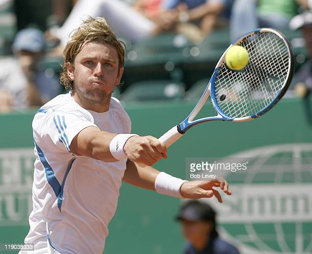 Mardy Fish defeated Jurgen Melzer 36 64 63 to win the US Mens Clay Court Championships on April 16 2006 at Westside Tennis Center in Houston Texas