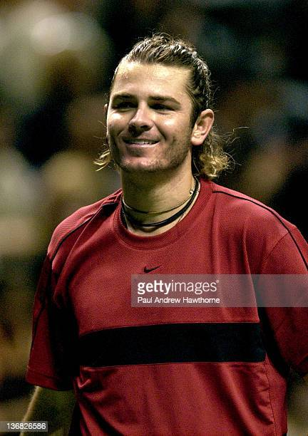 Mardy Fish laughs at antics by Andy Roddick during their finals match at the 2004 Siebel Open in San Jose, California, February 15, 2004. Roddick won...