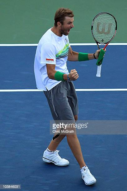 Mardy Fish of the United States celebrates after defeating Arnaud Clement of France during his men's singles match on day six of the 2010 US Open at...
