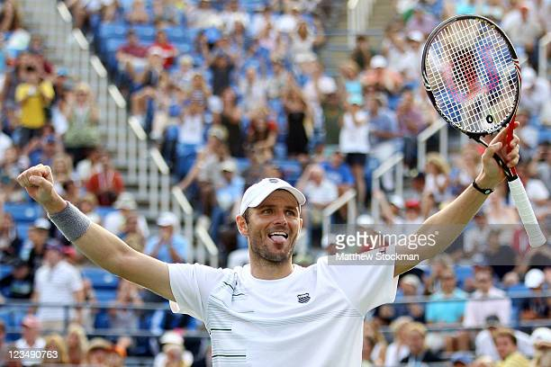 Mardy Fish of the United States celebrates after defeating Kevin Anderson of South Africa during Day Six of the 2011 US Open at the USTA Billie Jean...