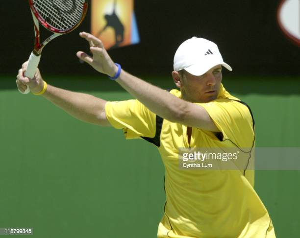 Mardy Fish of the United States looses four set match to French Open Champion Argentinian Gaston Gaudio in the second round during the 2005...