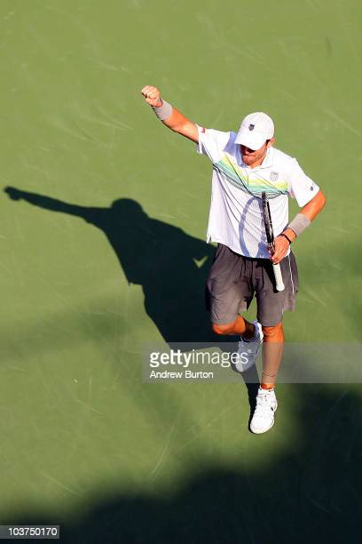 Mardy Fish of the United States reacts against Jan Hajek of the Czech Republic during his first round men's single's match on day two of the 2010 US...