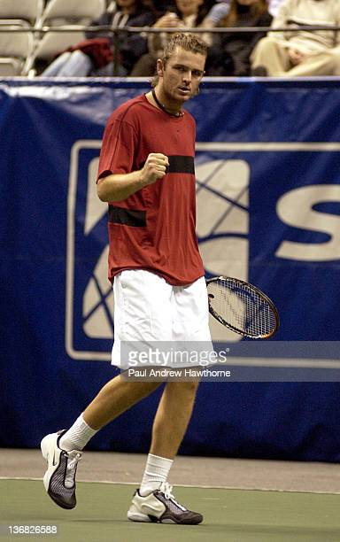 Mardy Fish pumps his fist after winning a point during his match with HyungTaik Lee of at the 2004 Siebel Open in San Jose California February 13...
