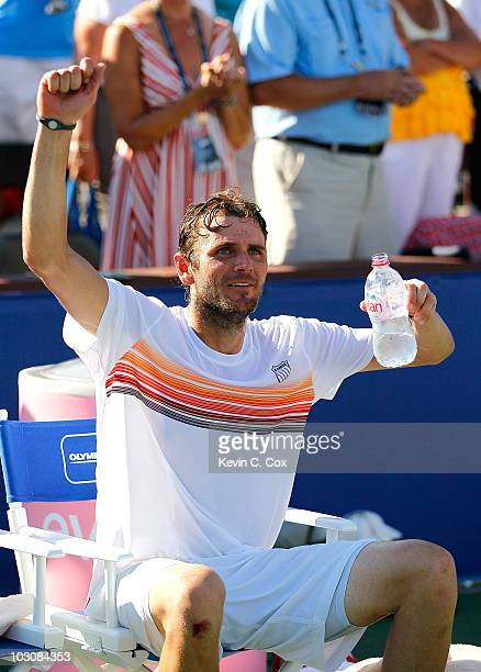Mardy Fish reacts after defeating John Isner in the finals of the Atlanta Tennis Championships at the Atlanta Athletic Club on July 25 2010 in...