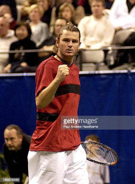 Mardy Fish reacts after winning a point during his match with Andre Agassi at the 2004 Siebel Open in San Jose, California, February 14, 2004. Fish...