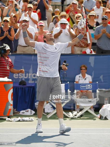 Mardy Fish reacts after winning the singles final against John Isner at the Atlanta Tennis Championships at the Racquet Club of the South on July 24,...