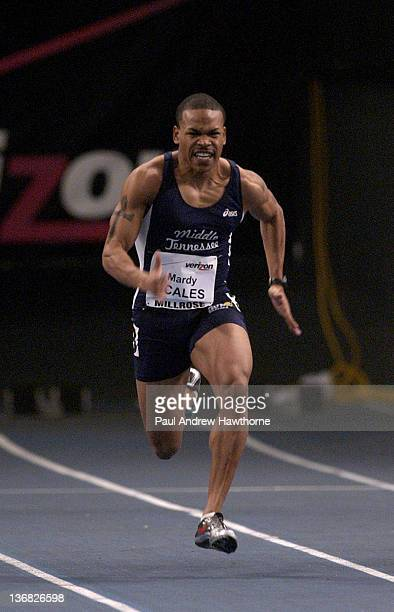 Mardy Scales of Middle Tennessee State on his way to winning the men's college 60 meter dash during the Verizon Millrose Games at Madison Square...