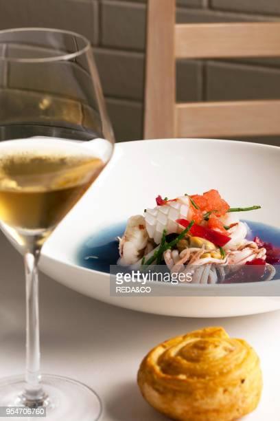Mare blu sea salad with grapefruit granita onion raspberry and red cabbage water Viviana Varese chef Ristorante Alice restaurant Milan Lombardy Italy...