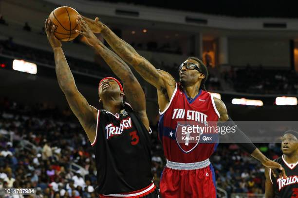 A'mare Stoudemire of TriState blocks a shot by Al Harrington of Trilogy during week eight of the BIG3 three on three basketball league at Infinite...