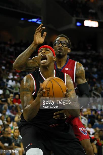 A'mare Stoudemire of TriState defends Al Harrington of Trilogy during week eight of the BIG3 three on three basketball league at Infinite Energy...