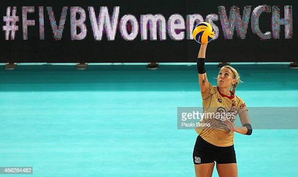 Mareen Apitz of Germany serves the ball during the FIVB Women's World Championship pool A match between Croatia and Germany on September 28 2014 in...