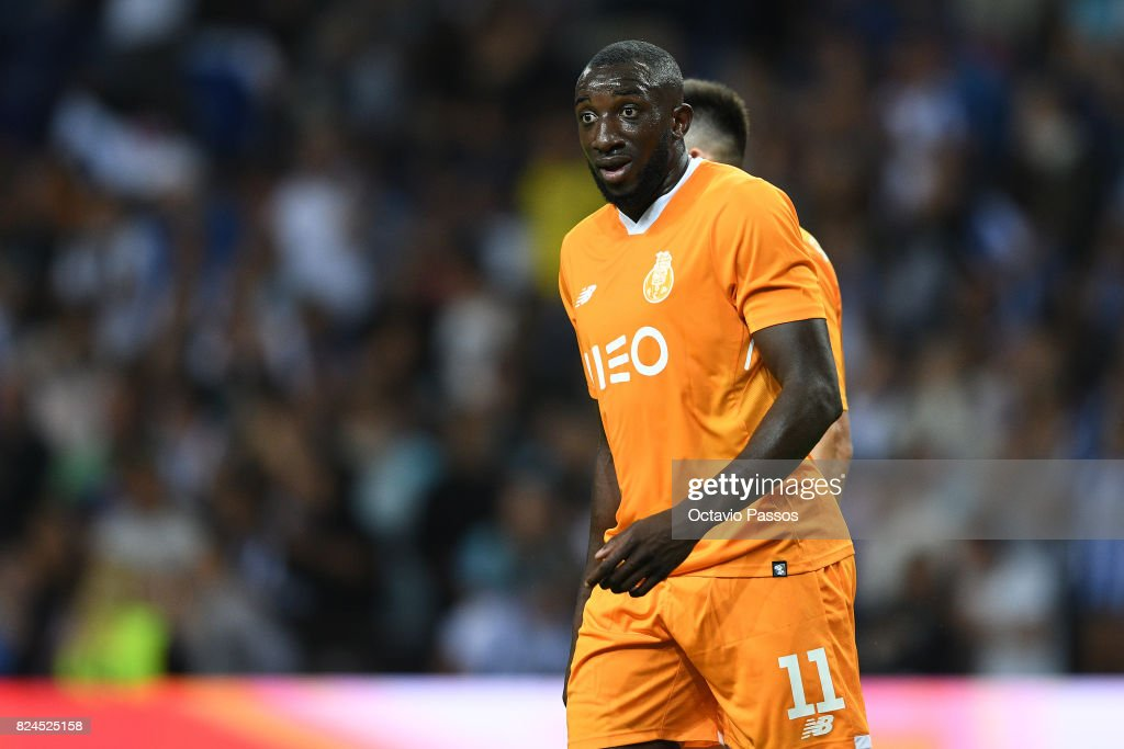 Marega of FC Porto reacts after scores the fourth goal during the Pre-Season Friendly match between FC Porto and RC Deportivo La Coruna at Estadio do Dragao on July 30, 2017 in Porto, Portugal.
