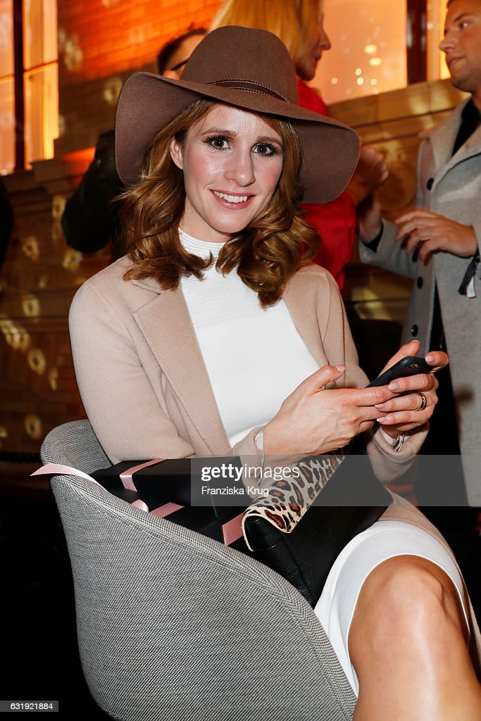 Mareile Hoeppner attends the VIP cocktail reception after the Marc Cain fashion show A/W 2017 at Deutsche Telekom representation on January 17, 2017 in Berlin, Germany.