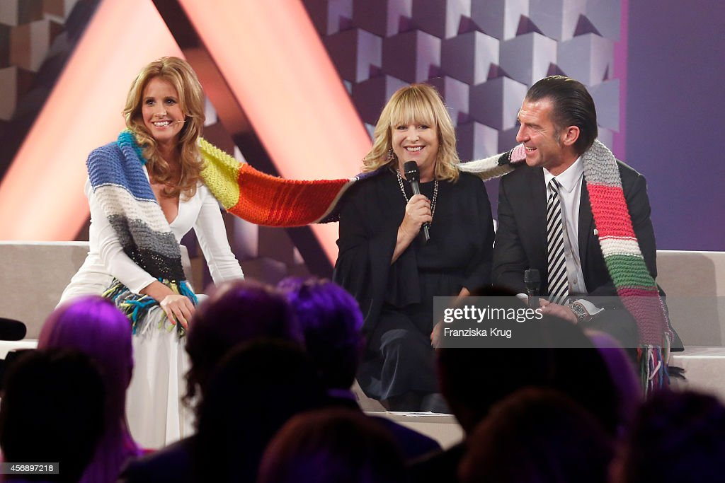 Mareile Hoeppner, Patricia Riekel and Philipp Welte speak during the Tribute To Bambi 2014 show on September 25, 2014 in Berlin, Germany.