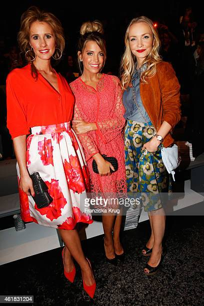 Mareile Hoeppner Sylvie Meis and Janin Reinhardt attend the Marc Cain show during the MercedesBenz Fashion Week Berlin Autumn/Winter 2015/16 at...
