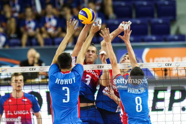 Marek Beer Emanuel Kohut Daniel Koncal during Volleyball European Championships Poland 2017 match Czech Republic and Slovakia on 25 August 2017 in...