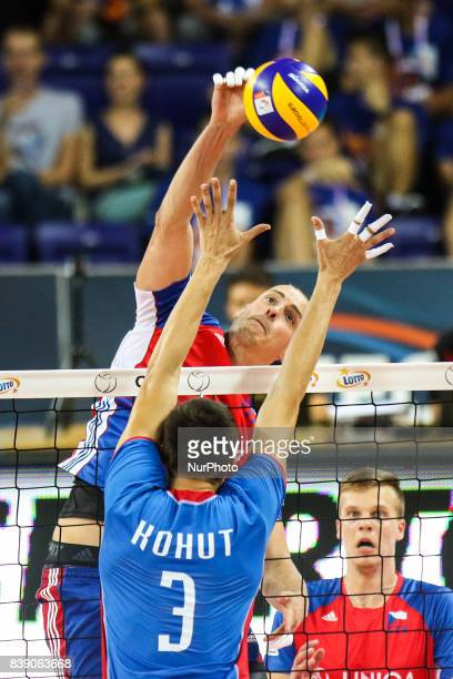 Marek Beer Emanuel Kohut during Volleyball European Championships Poland 2017 match Czech Republic and Slovakia on 25 August 2017 in Szczecin Poland