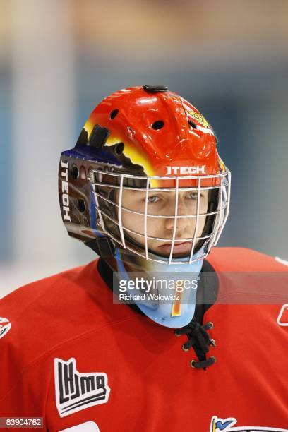 Marek Benda of the Baie-Comeau Drakkar skates during the warm up period prior to facing the Drummondville Voltigeurs at the Centre Marcel Dionne on...