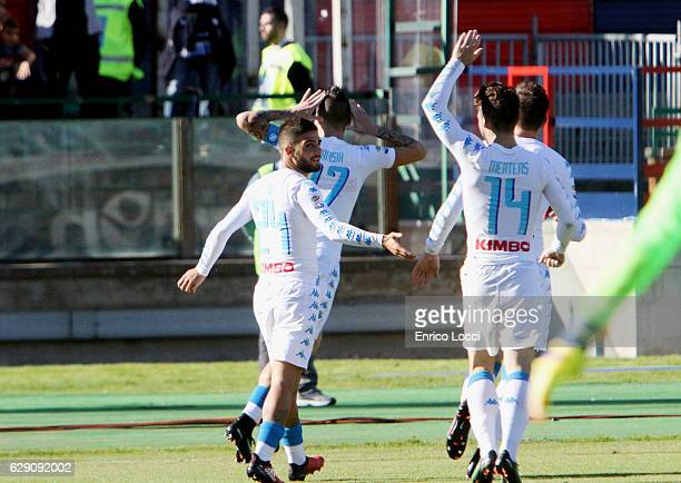 Marek Hamisc of Napoli celebrates the goal 02 with the teammates during the Serie A match between Cagliari Calcio and SSC Napoli at Stadio Sant'Elia...