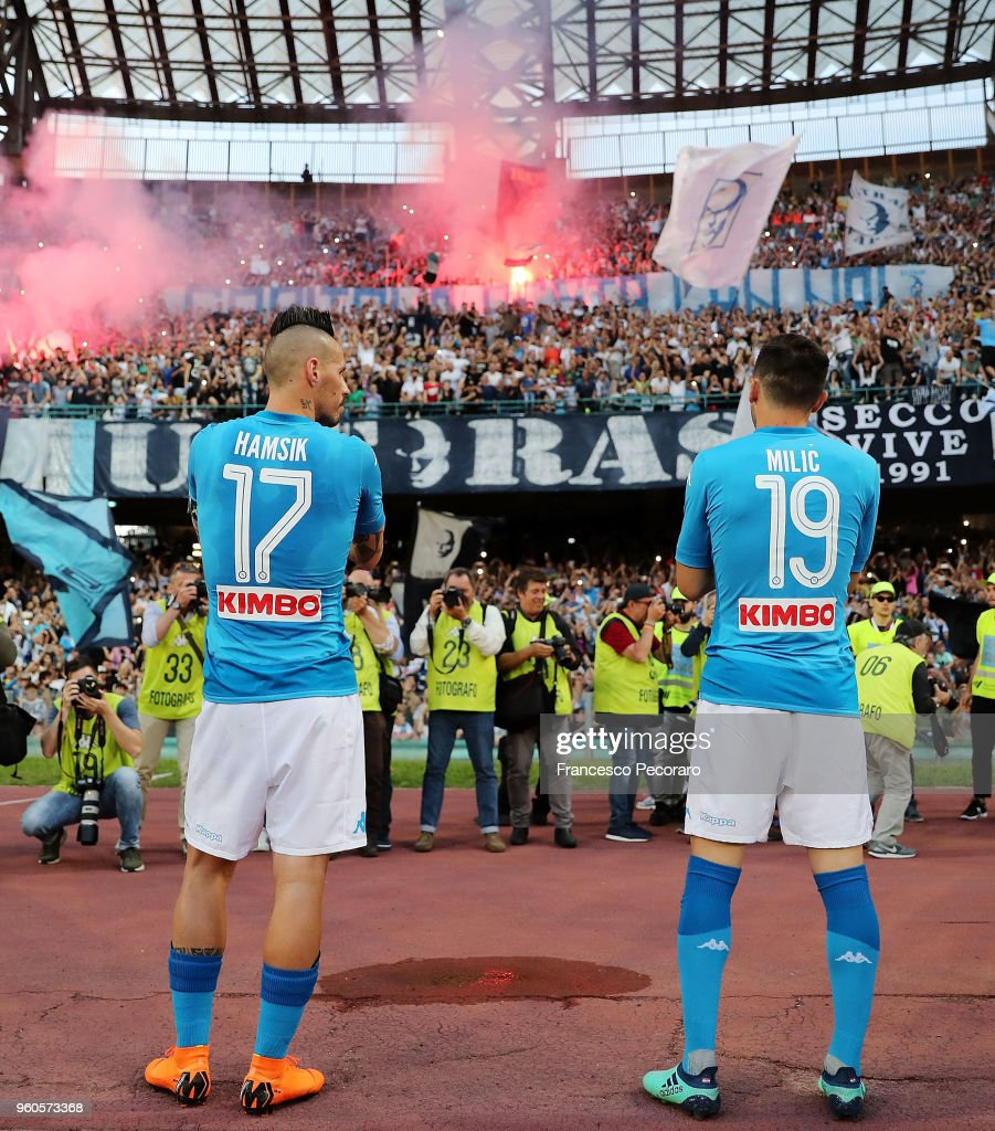 Marek Hamsik and Hrvoje Milic of SSC Napoli celebrate the victory after the Serie A match between SSC Napoli and FC Crotone at Stadio San Paolo on May 20, 2018 in Naples, Italy.