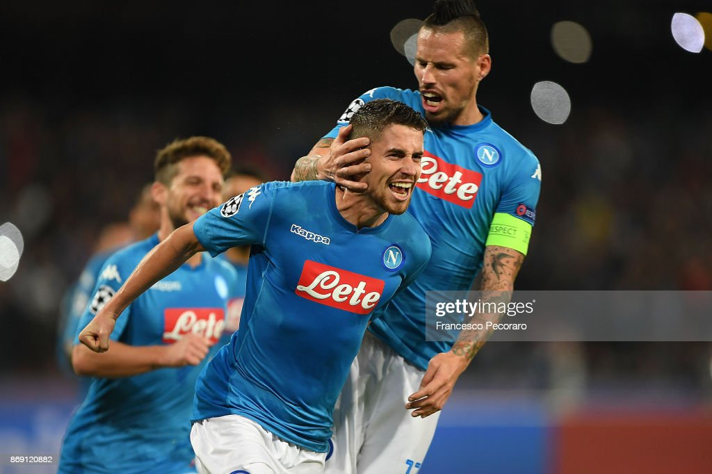 Marek Hamsik and Jorginho of SSC Napoli celebrate the 2-2 goal scored by Jorginho during the UEFA Champions League group F match between SSC Napoli and Manchester City at Stadio San Paolo on November 1, 2017 in Naples, Italy.