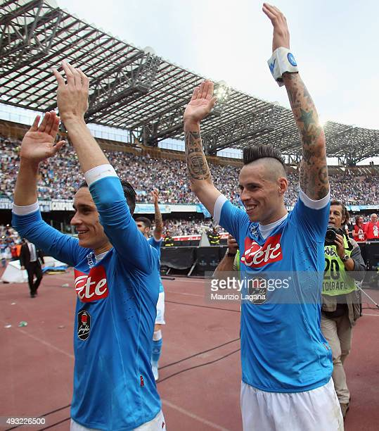 Marek Hamsik and Josè Maria Callejon of Napoli celebrate after the Serie A match between SSC Napoli and ACF Fiorentina at Stadio San Paolo on October...