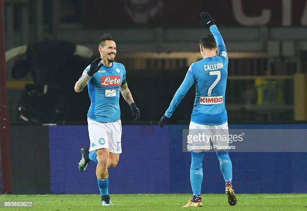 Marek Hamsik and Jose Calleon of SSC Napoli celebrate the 03 goal scored by Marek Hamsik during the Serie A match between Torino FC and SSC Napoli at...
