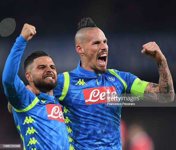 Marek Hamsik and Lorenzo Insigne of SSC Napoli celebrate the 10 goal scored by Marek Hamsik during the Group C match of the UEFA Champions League...