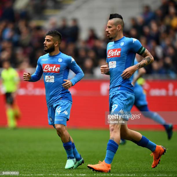 Marek Hamsik and Lorenzo Insigne of SSC Napoli in action during the serie A match between AC Milan and SSC Napoli at Stadio Giuseppe Meazza on April...