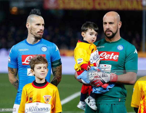 Marek Hamsik and Pepe Reina of SSC Napoli posing before the Italian Serie A match between SSC Napoli and Benevento at Ciro Vigorito Stadium. .