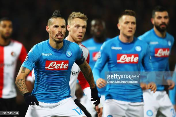 Marek Hamsik and Piotr Zielinski of Napoli look on during the UEFA Champions League group F match between Feyenoord and SSC Napoli at Feijenoord...