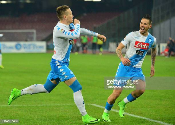 Marek Hamsik and Piotr Zielinski of SSC Napoli celebrate the 10 goal scored by Piotr Zielinski during the Serie A match between SSC Napoli and Genoa...
