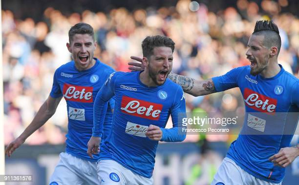 Marek Hamsik Jorginho and Dries Mertens of SSC Napoli celebrate the 21 goal scored by Dries Mertens during the serie A match between SSC Napoli and...