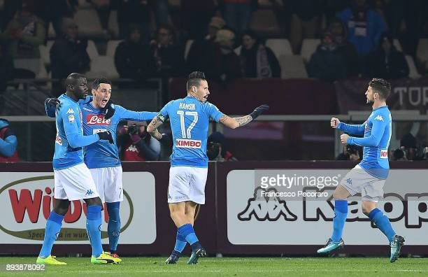 Marek Hamsik Jose Calleon Kalidou Koulibaly and Dries Mertens of SSC Napoli celebrate the 01 goal scored by Kalidou Koulibaly during the Serie A...